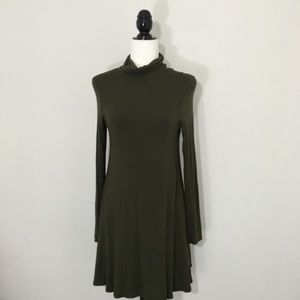 3f6aa80f19a1 Lulu s Dresses - Lulu s M Olive Green Turtleneck Swing Dress